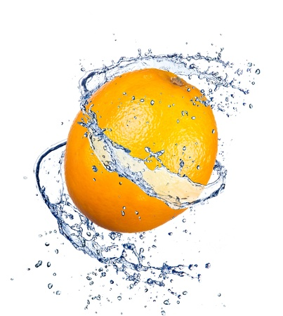 Orange in water splash, isolated on white background photo