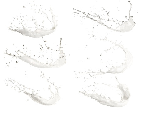 bath cream: High resolution milk splashes collection, isolated on white background
