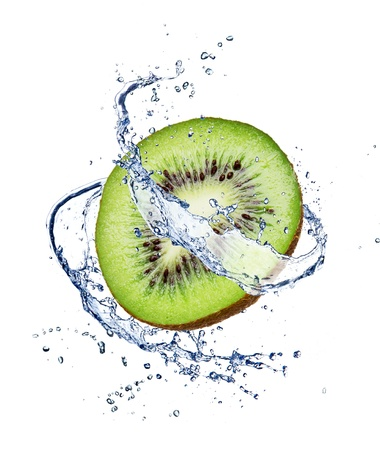 Kiwi in water splash, isolated on white background Stock Photo - 14555446