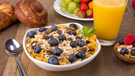 Healthy breakfast on wooden table photo