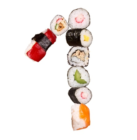 Sushi number isolated on white background