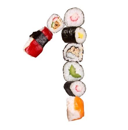 Sushi nummer geïsoleerd op witte achtergrond Stockfoto