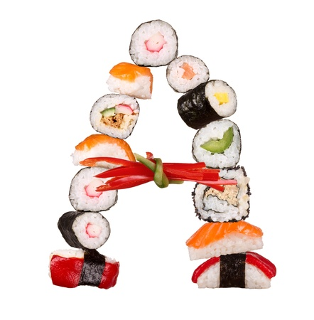 Sushi alphabet letter isolated on white background photo