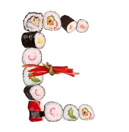 alphabet animaux: Lettre de l'alphabet Sushi isol� sur fond blanc