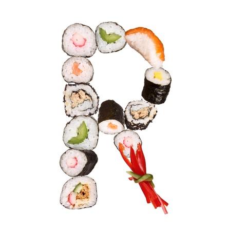 alfabeto con animales: Sushi letra del alfabeto aisladas sobre fondo blanco