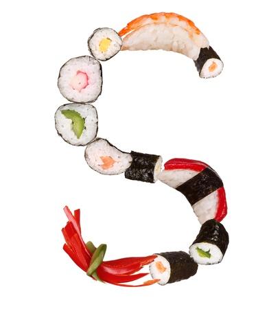 maki sushi: Sushi alphabet letter isolated on white background