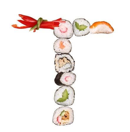 alfabeto con animales: Sushi letra del alfabeto aislado sobre fondo blanco