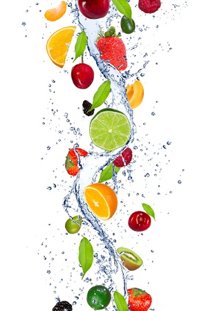 fruit drop: Fresh fruits falling in water splash, isolated on white background