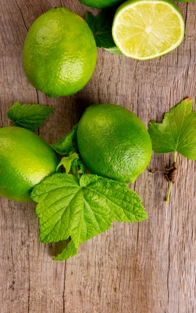 Fresh limes, upper view photo