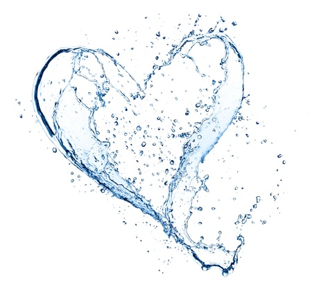 pouring water: Heart symbol made of water splashes, isolated on white backgound