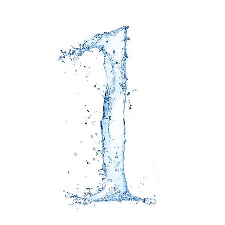 """Acqua spruzzi numero """"1"""" isolato su sfondo bianco"""