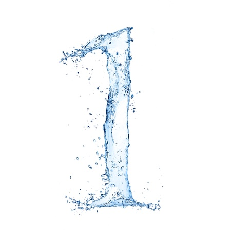 Water splashes number '1' isolated on white background photo