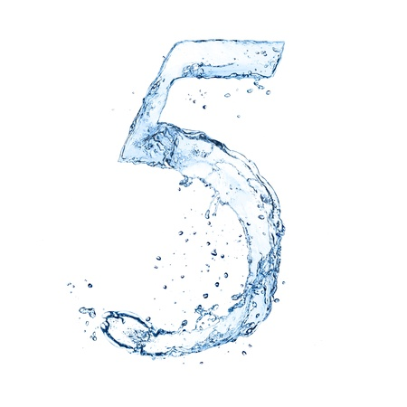 Water splashes number '5' isolated on white background photo