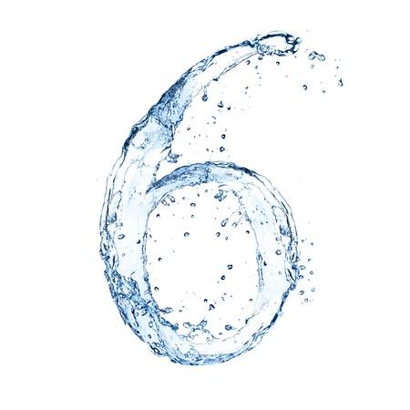 water alphabet: Water splashes number 6 isolated on white background Stock Photo