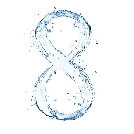 Water splashes number '8' isolated on white background photo