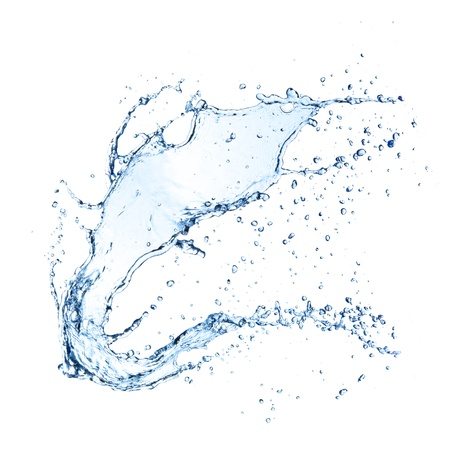 splash de agua: Chapoteo del agua aislado en el fondo blanco Foto de archivo