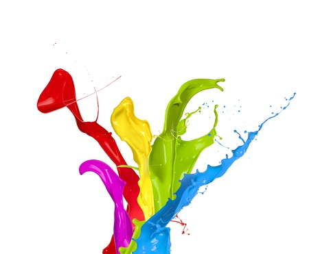 pink paint: Colored paint splashes isolated on white background