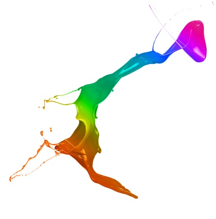 Isolated shot of rainbow paint splash on white background photo