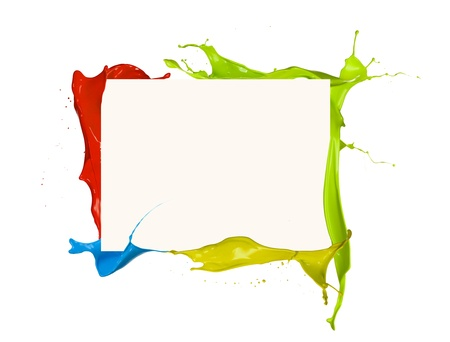 3d rainbow: Isolated shot of colored paint frame splash on white background