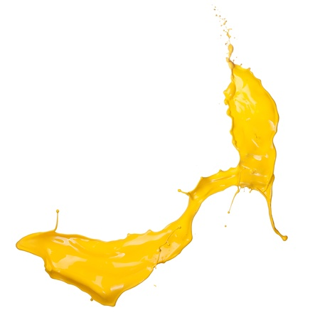 paint drop: Isolated shot of yellow paint splash on white background