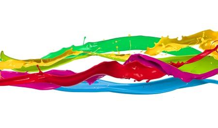 Éclaboussures de peinture de couleur isolé sur fond blanc Banque d'images