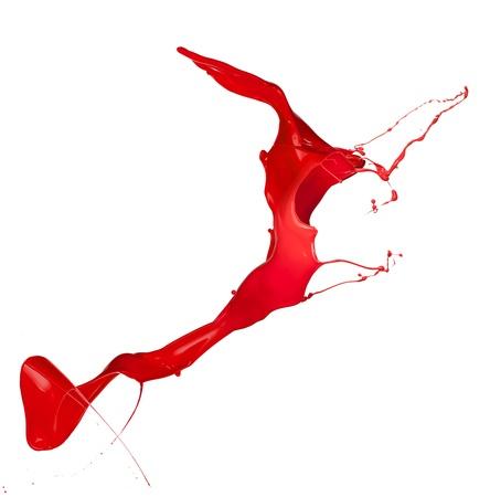 Geïsoleerde shot van rode verf splash op een witte achtergrond