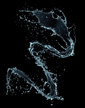 drops of water:  Water splash, isolated on black background  Stock Photo