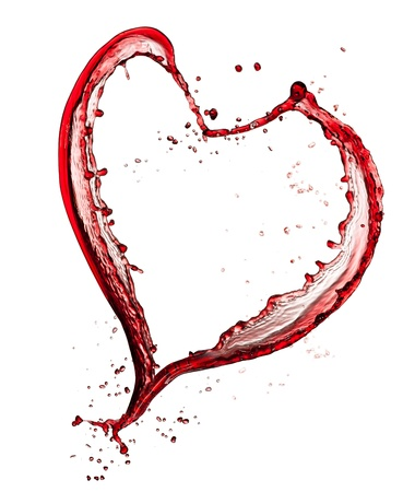pour: Heart symbol made of red wine, isolated on white background Stock Photo