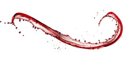 wine pouring: Vino schizzo rosso, isolato su sfondo bianco Archivio Fotografico
