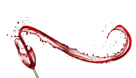 splashed: Red wine splashing out of glass, isolated on white background