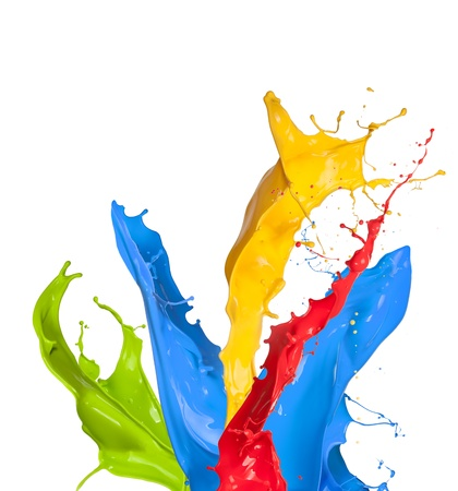 ink in water: Colored paint splashes isolated on white background