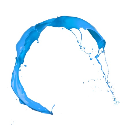 splash paint:  Isolated shot of blue paint splash on white background