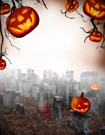 cemetry: Spooky halloween pumpkins on cemetery Stock Photo