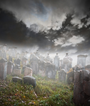 burial: Old ruined graveyard in mystery fog