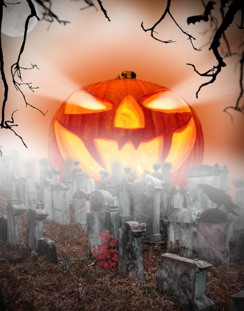 Spooky halloween pumpkin on cemetery photo