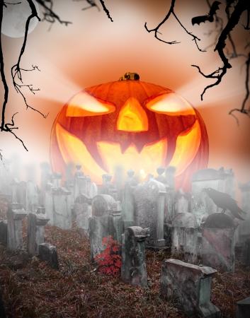 halloween concept: Spooky halloween pumpkin on cemetery Stock Photo