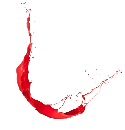 Isolated shot of red paint splash on white background  photo
