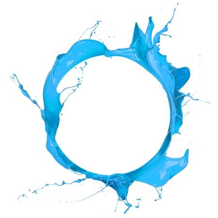 Peinture bleue éclaboussures cercle, isolé sur fond blanc Banque d'images