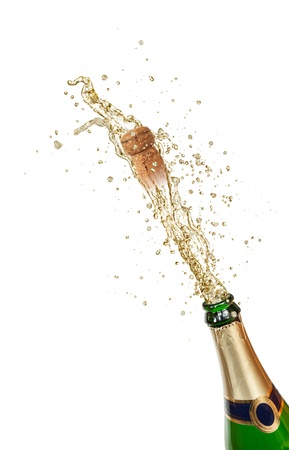 popping cork: Champagne explosion, isolated on white background Stock Photo