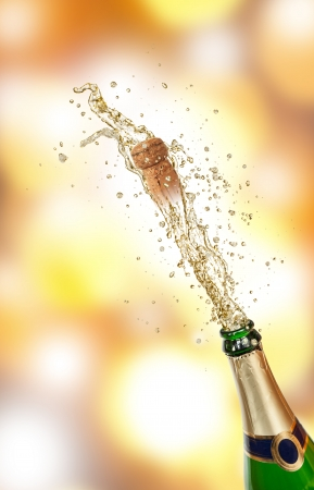 popping cork: Champagne explosion Stock Photo