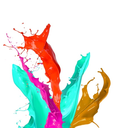 Colored paint splashes isolated on white background photo