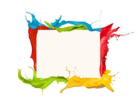 paintbrush spray:  Isolated shot of colored paint frame splash on white background