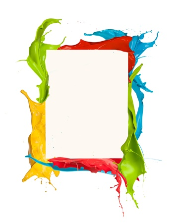 Isolated Shot Of Colored Paint Frame Splash On White Background ...