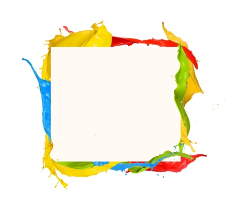 Isolated shot of colored paint frame splash on white background photo
