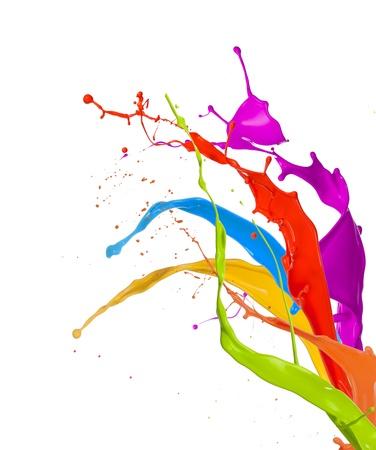 Pintura coloreada salpica ramo aislado en el fondo blanco