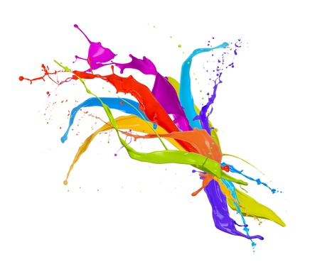 paint drip:  Colored paint splashes bouquet isolated on white background