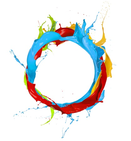 3d rainbow:  Colored paints splashes circle, isolated on white background