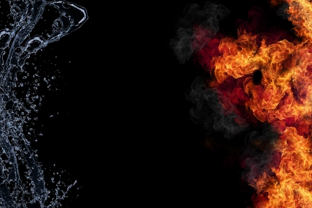 Water and fire connection, representation of elements. Isolated on black background  photo