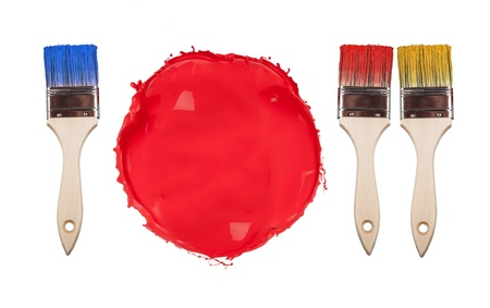 collation: Concept of empty plate with utensil made of paint brushes and splash