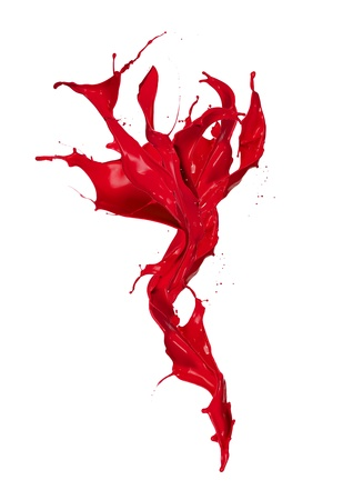paint drop:  Isolated shot of red paint splash on white background
